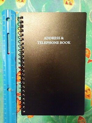 "Address & Telephone Book - 8"" × 5"" - Black Vinyl With Spiral Binding"