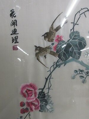 Mid Century Chinese Embroidery On Silk Birds On Flowering Branches Framed