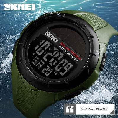 SKMEI Watch Digital Men Sport Watches Creative Solar Power Waterproof Wristwatch