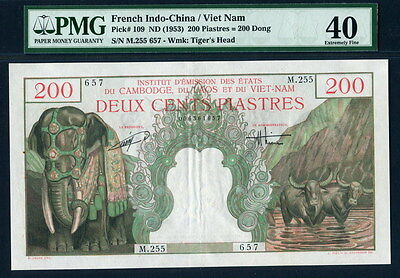 French Indo-China 1953, 200 Piastres ( 200 Dong), P109, PMG 40  EF