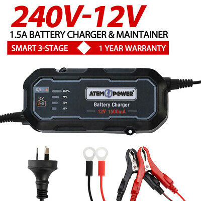 Smart Battery Charger 12V 1.5A Maintainer Car Motorbike Deep Cycle AGM SLA