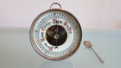 ANTIQUE ANEROID BAROMETER,  PLATED METAL, OLD AND INTERESTING, WORKING 12cm FACE