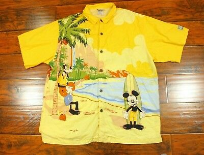 4624e6ddc Disney Mens XL X-Large Yellow Hawaiian Aloha Shirt Mickey, Donald, Pluto,