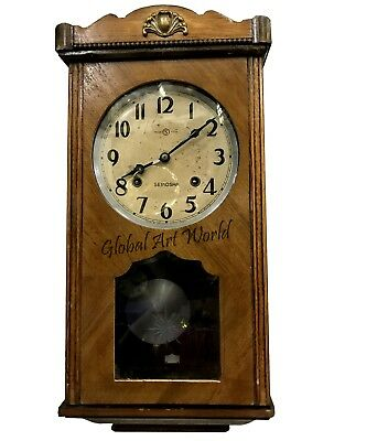 Antique Wall Decor Collectible Time Piece Seikosha Pendulum Wall Clock HB 0229