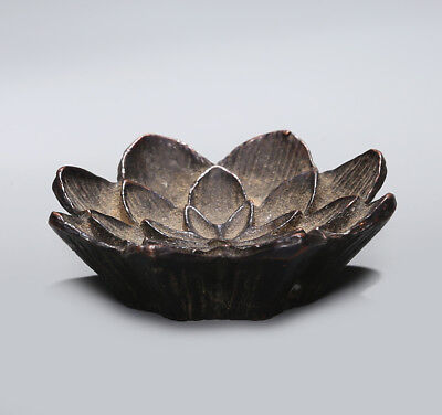 Rare Chinese Qing Dynasty XuanDe Antique Old Bronze Lotus flower Ornament SA177