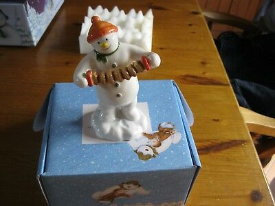 Beswick Snowman And Snowdog Accordion Snowman New Boxed