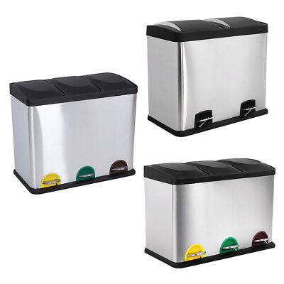 Songmics Stainless Steel Multi Compartment Large Recycling Recycle Pedal Bin Can