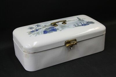 Old Enamel Bread Box Bing Bread Case Enameled with Spraying Decor Vintage