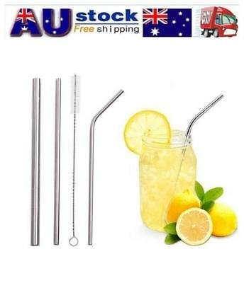 3X Reusable Stainless Steel Metal Extra Wide Drinking Straw Straws + Brush bag