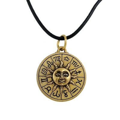 Sun Constellation Zodiac Signs Astrology Horoscope Psychic Pendant Necklace Goth