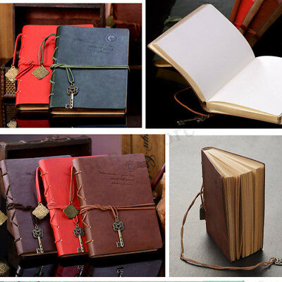 US Vintage Magic Key String Leather Note Book Diary Notebook Journal Blank Pages