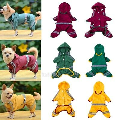 Dog Hooded Raincoat Rain Coat Pet Jacket Puppy Outdoor Clothes Waterproof Coat