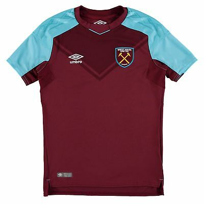 Official West Ham United Football Home Shirt Jersey Tee Top 2017/18 Kids Umbro