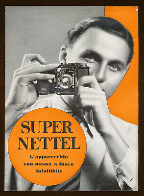 Zeiss Ikon, pieghevole illustrativo  Super Nettel 1934 in italiano E753