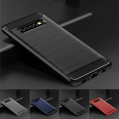 For Samsung Galaxy S10E S10+ S9 Plus Shockproof Fiber Carbon Soft TPU Cover Case
