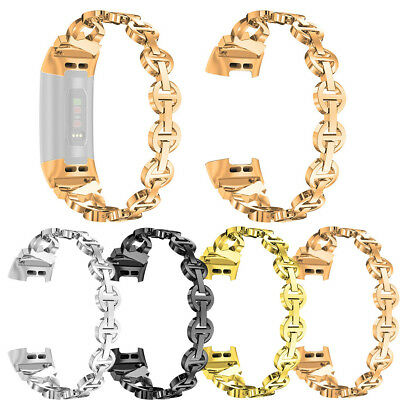 For Fitbit charge 3 Bling Stainless Steel Metal Bracelet Strap Band Replacement
