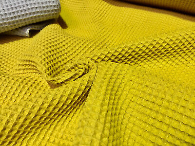 Cotton WAFFLE Pique Honeycombe Fabric Material - 140cm wide - MUSTARD Yellow