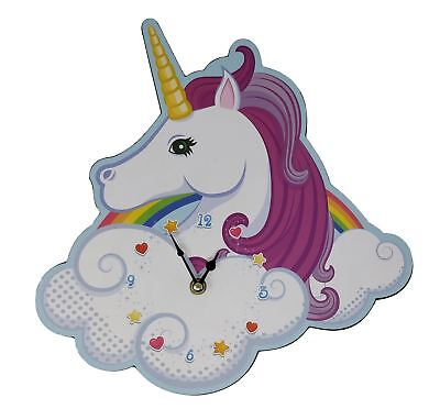 Unicorn rainbow shaped pink white wooden wall clock 31cm x 30cm