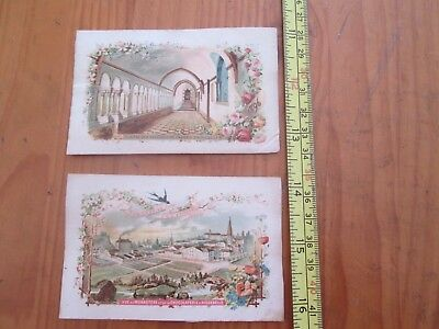 2 Rare 19th Century French Trade / Advertisement Cards Chocolat D´Aiguebelle