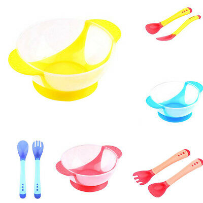 Heat Temperature Sensor Baby Kids Toddler Cutlery Set Feeding Spoon Fork Utensil