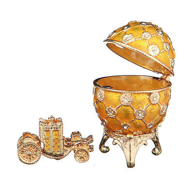 Faberge Egg Trinket Jewel Box Russian Coat of Arms & Carriage 2.4'' 6.2cm yellow