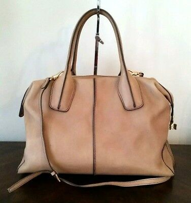 81fe99d67d Tods D Styling Bag Bauletto Camel Leather Large Satchel Hand Bag Authentic  $1895
