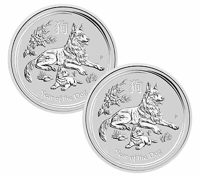 Lot of 2 - 2018 $1 1oz Silver Australian Year of the Dog .9999 BU