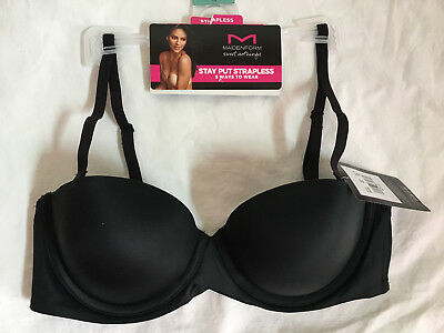 a48aff57f5 BLACK 36B Strapless Bra New Maidenform STAY PUT 5 Way Sweet Nothings SN6990  Demi