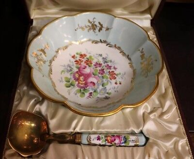 Antique Porcelain Bowl With A Spoon France old dish set in box bowl and spoon