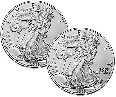 Lot of 2 - 2019 $1 1oz Silver American Eagle .999 BU