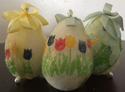 Easter Sparkle Flower Floral Foam Eggs Pearlized Pins Ribbon 3 Figurine Ornament