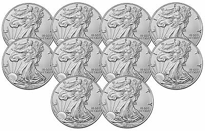 Lot of 10 - 2019 $1 1oz Silver American Eagle .999 BU