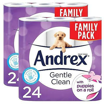 Andrex Gentle Clean Puppies on a Roll Toilet Tissue Paper, 24 Rolls (pack of 2)