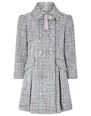 Monsoon Girls Grey Tweed Bow Collar Sparkle Classic Party Dress Coat Age 9 to 10