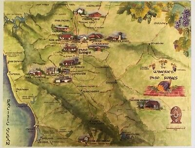 Vintage The Wineries Of Paso Robles Authentic Map Art #2 Rare Maps