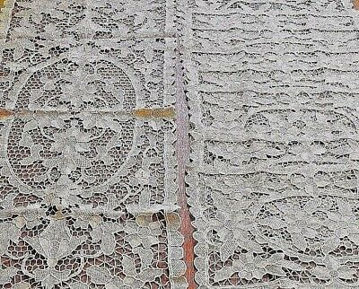 Antique Lace Placemats Table Runner Set Point de Venise Needlelace 9 pc Vintage