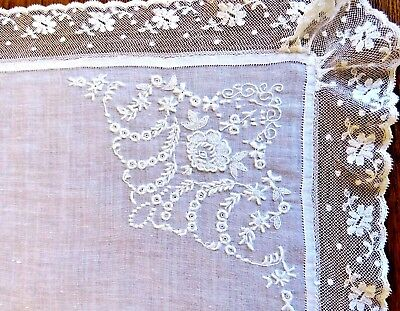 Antique Linen Handkerchief White Ladies Woman Lace Embroidered Wedding Bridal