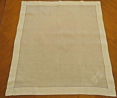 "Antique Handkerchief Large White  Woman Man Hanky 19"" Embroidered Monogram P C"