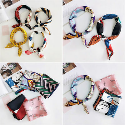 Womens Square Silk Feeling Satin Scarf Small Head-Neck Hair Tie Band Party