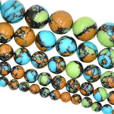 Blue Mosaic Turquoise Loose Beads Jewelry Making 6mm 8mm 10mm 12mm 14mm 16mm