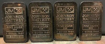 4 - JM 1 OZ SILVER BAR 999 SOOTER'S. Sequential serial numbers. Beautiful toning