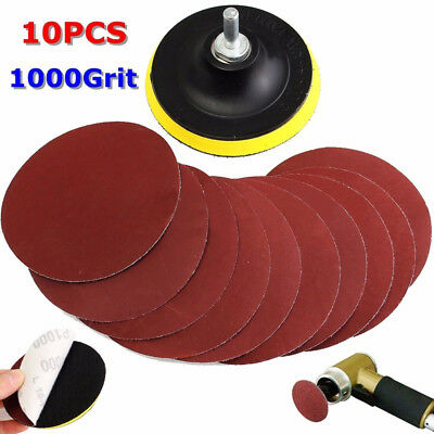 10pc 1000 Grit Sanding Disc Sandpaper Pad Hook Loop Backer Pad +Drill Adapter AA