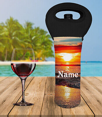 Beach Personalised Wine Bottle Cooler Carry Bag With Or Without Name