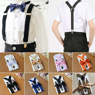 Cute Adjustable Kids Boy Girl Children Bow Tie Set Suspender Baby Toddler Braces