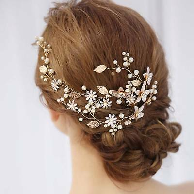 Wedding Leaf Headband Pearl Flowers Bridal Handmade Hairband Hair Accessories