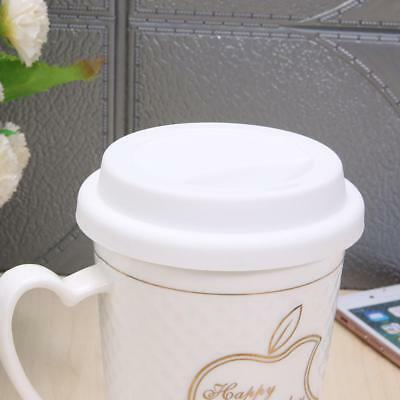 Silicone Insulation Anti-Dust Cup Cover Tea Coffee Sealing Lid Cap(White)