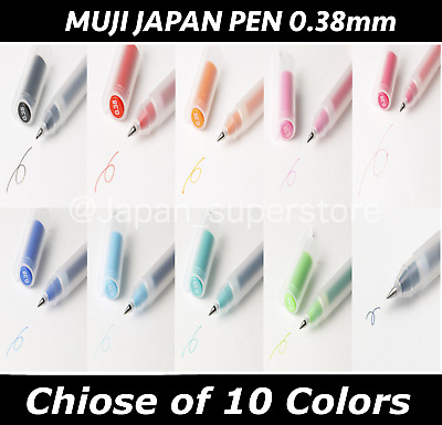 New MUJI MoMA Japan 0.38mm Non-Toxic Gel Ink 10 colors Pens Free Shipping D2