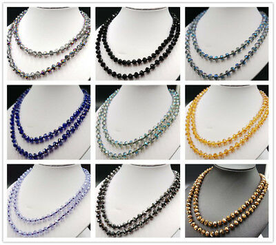 "Beautiful 6x8mm AB Multicolor Crystal Beads Necklace 38"" AAA+"