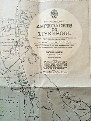 Large 1:25 000 Scale Admiralty Chart Of The Approches to Liverpool 1951