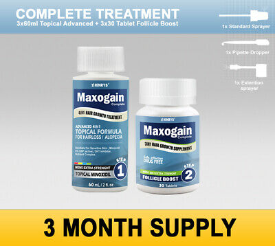 3 Month Maxogain 7in1 Complete Mens 5% Minoxidil Regrowth Hair loss System New